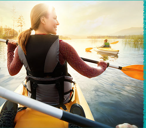A CIDP patient riding a kayak with her family