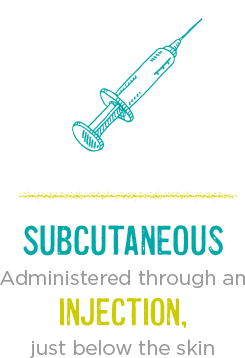 SUBCUTANEOUS: Administered through an injection, just below the skin